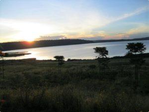 Lake shore at sunset