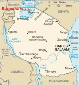Map of Tanzania showing Bushasha village location