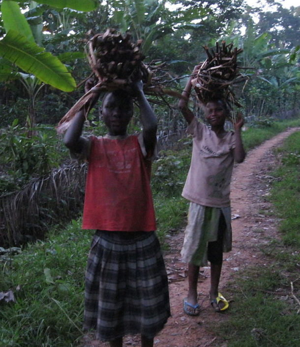 girls carrying firewood on their heads