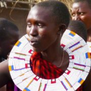 Maasia woman wearing large beaded necklace