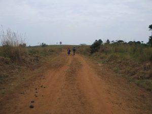 two people walking on one-lane dirt road