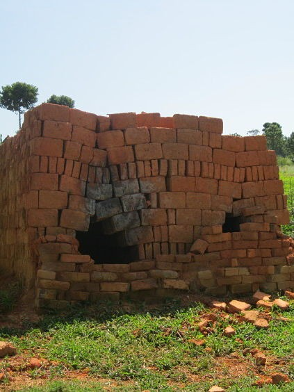 bricks stacked in the shape of a kiln